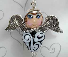 Heart Angel with beads by Joan Miller and Patti Cahill
