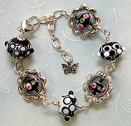 Black, White and Pink Flowers Bracelet