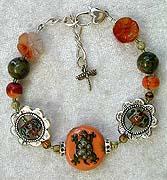 Boro, Carnelian and Porcelain Bracelet